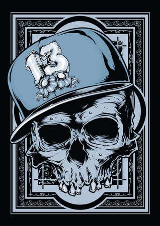 Hip hop illustration de crâne Banque d'images - 25473209
