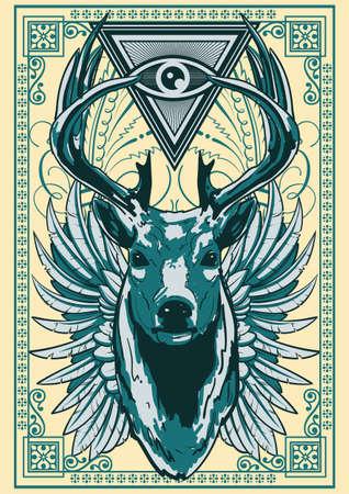 deer head: Royal deer illustration