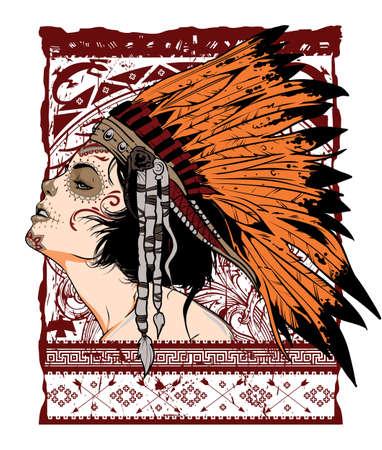 retratos: Menina Native Ilustra��o
