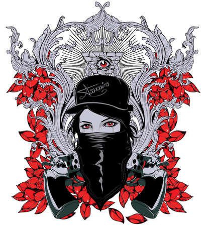 woman with gun: Queen of assasins  Illustration