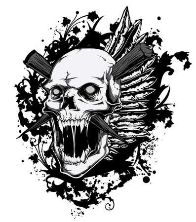 Schreeuwen schedel Stock Illustratie