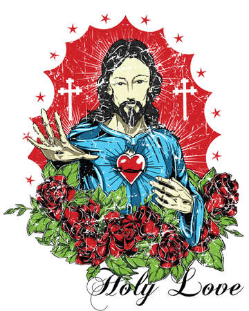 sacred heart: Holy love  Illustration