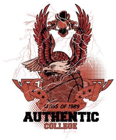 high school sports: Basketball eagle  Illustration