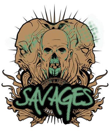 warrior tribal tattoo: Savages  Illustration
