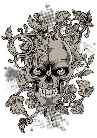 Bleeding skull Illustration