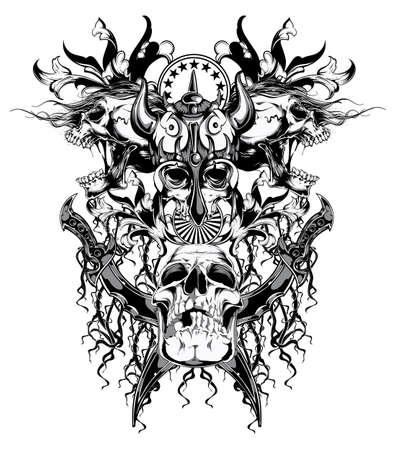 Krijger schedel Stock Illustratie