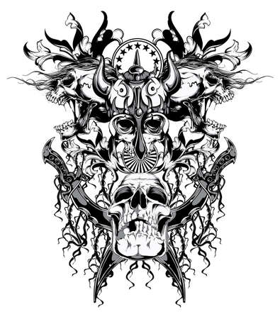 skull tattoo: Warrior skull