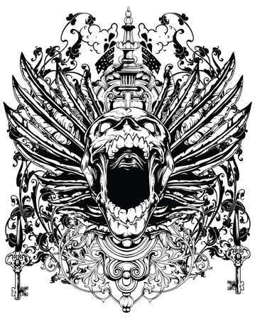skull tattoo: Gevleugelde schedel