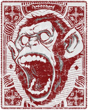 boca abierta: Mono Screaming Vectores