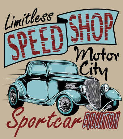 oldtimer: Speed shop  Illustration