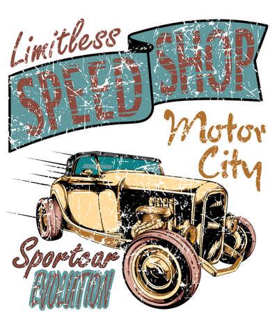 garage mechanic: Speed shop  Illustration