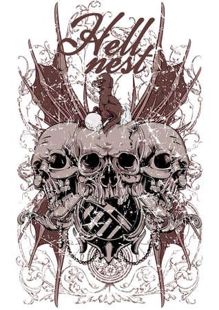animal skull: Hell nest