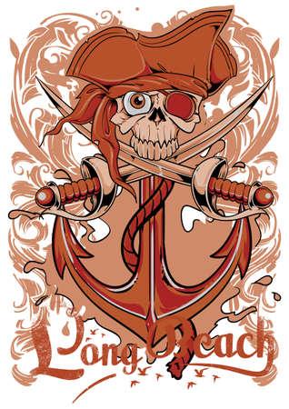 captain hat: Long Beach  Illustration