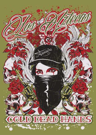 mujer con pistola: Los Aztecas