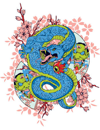 oriental ethnicity: Dragon culture Illustration