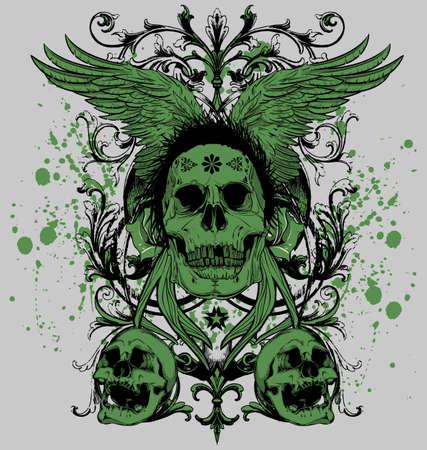 翼の頭蓋骨のマスター  イラスト・ベクター素材
