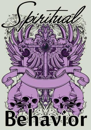 christian cross and wings: Spiritual behavior  Illustration