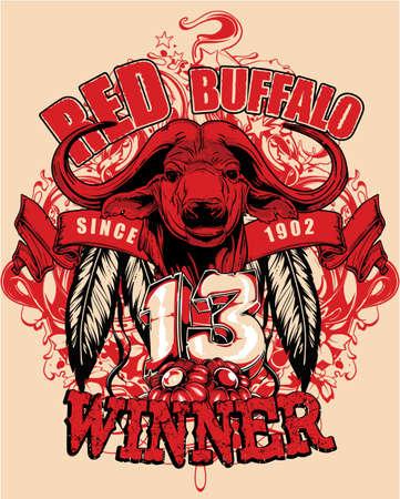 longhorn: Red buffalo  Illustration
