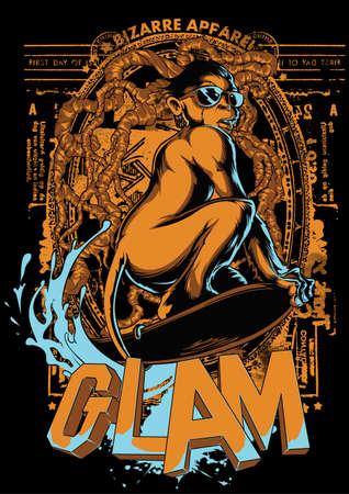 Glamour monkey  Vector