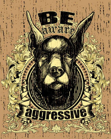 beware dog: Aggressive dog  Illustration