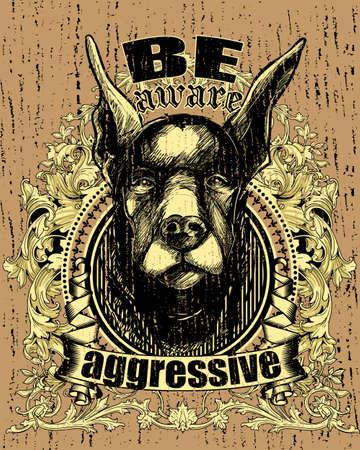 beware of the dog: Aggressive dog  Illustration