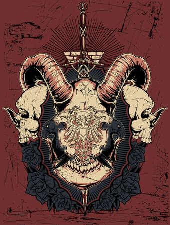 Horned shield Illustration