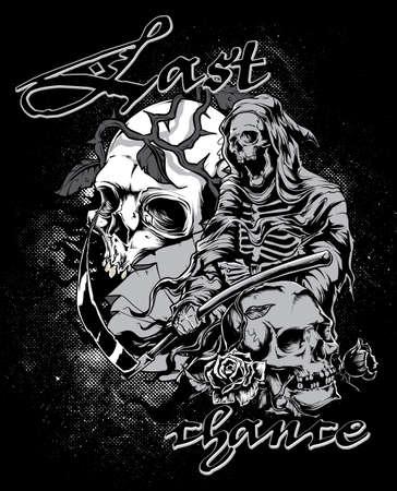 Last chance skull design Vector