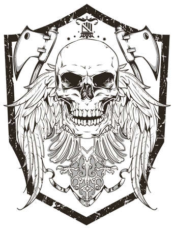 warrior tribal tattoo: Warrior emblem Illustration