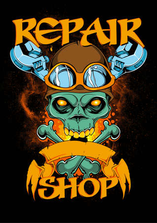 Repair shop illustration
