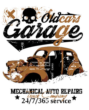 古い車のガレージ  イラスト・ベクター素材