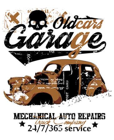 Oude auto garage