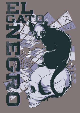 hissing: El gato negro Illustration