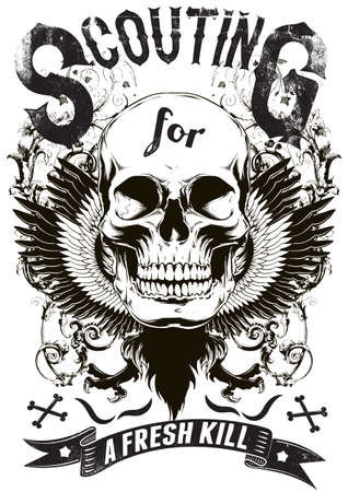 esqueleto: Escultismo para una presa fresca Vectores