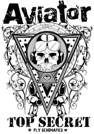 skull tattoo: Aviator