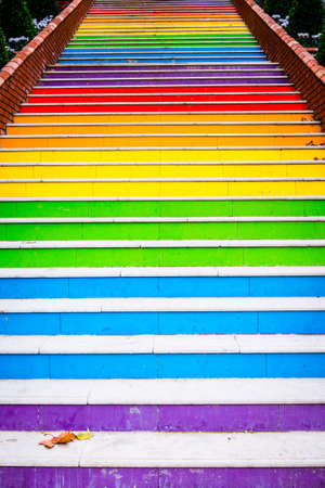 Stairs painted in rainbow colors