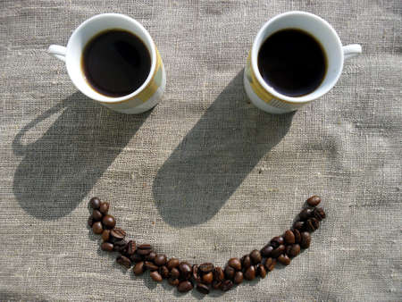 good morning: Coffee smile Stock Photo