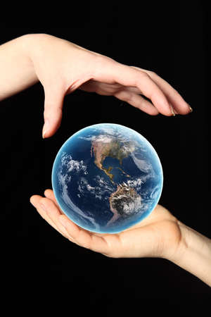 photoshop: WORLD IN YOUR HAND Stock Photo