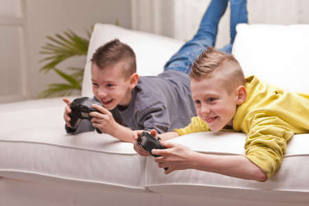 two little boys having lots of fun with video games photo