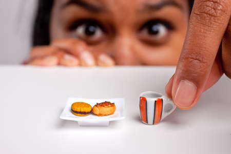 meat diet: indian girl on a severe diet Stock Photo