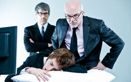 loafer: manager and boss discover lazy employee sleeping during day job
