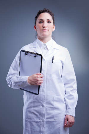 white coat: straight on her feet doctor with a white coat and a folder