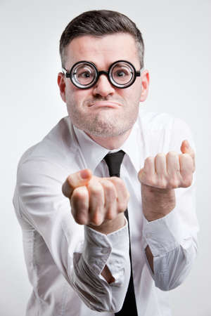 clerk: funny clerk ready to fight Stock Photo