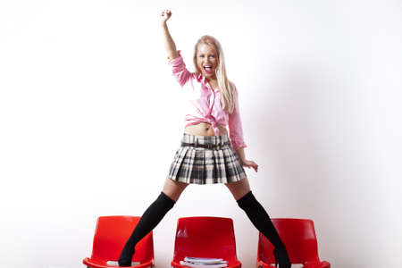 miniskirt: riot student with a miniskirt standing up for her ... rights...