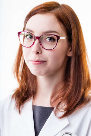 scold: doctor woman looking you patient with some little sweet scold because you didnt listen often enough Stock Photo