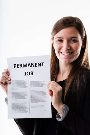 proudly: woman proudly holding her permanent job contract