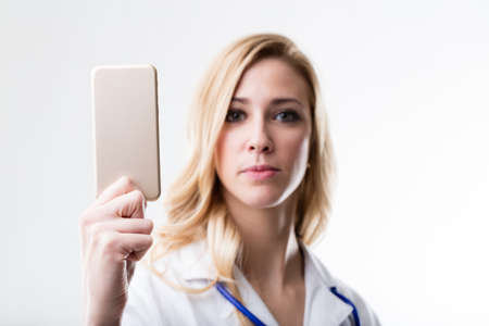 medical doctor suggesting some product or service access using your affordable mobile technology