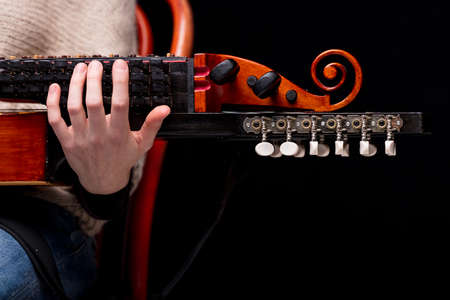 pegheads: nyckelharpas scroll, headstock and pegbox details, concept of folk, baroque and classical music played with handcrafted ancient string musical instruments