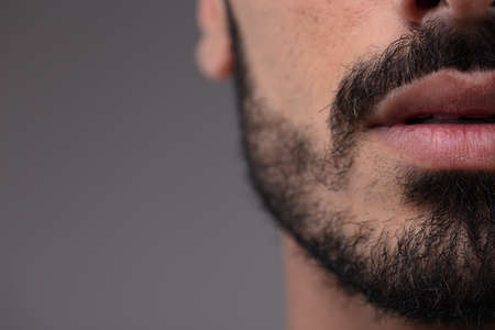 Cropped view of the mouth of a bearded man with a mustache over a grey studio background with copy space