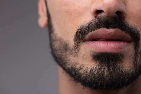 Close up on the mouth and chin of a bearded man in a cropped view of his face over a grey background Standard-Bild