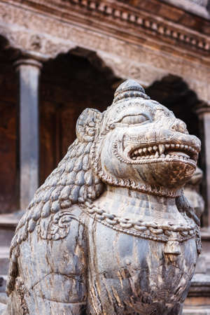 Details of ancient statues and decorations in Patan Durbar Square, Nepal Stock Photo